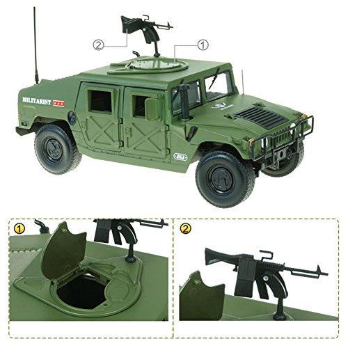 KAIDIWEI正規品 軍事車模型 軍事ハンビー移動車 機関銃 戦術ジープ ハマー 戦地車 高品質 1/18スケール 合金製 モデルカー 軍事車 プレゼント 建築模型 教育 写真に