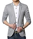 Faston スーツ ジャケット メンズ コート 春 秋 ビジネス 紳士 フォーマル テーラード ジャケット 着こなし ブレザー XF1806 (XXL, グレー)