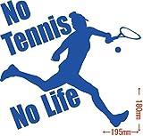 ノーブランド品 No Tennis No Life (テニス)ステッカー・ 15 約180mm×約195mm ブルー