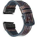 OTOPO Compatible Fenix 5/5 Plus Bands & Fenix6/6 Pro Bands, 22mm Quick fit Hybrid Sport Band Vintage Leather Sweatproof Strap Wrist Band for Garmin Forerunner 935/945 Smartwatch (Crocodile Brown)