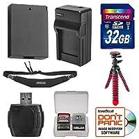LP - e10バッテリー&充電器+ 32GB SDカード、三脚&ストラップEssentialバンドルfor Canon Rebel t5& t6デジタルSLRカメラ