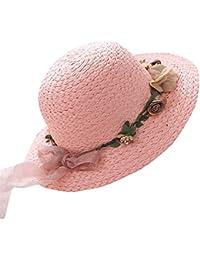 (ハッピー?ライフ)Happylife 子供 帽子 麦わら 女の子 夏 ビーチハット 花 リボン UVカット 日よけ キャンプ ハット キッズ つば広帽子