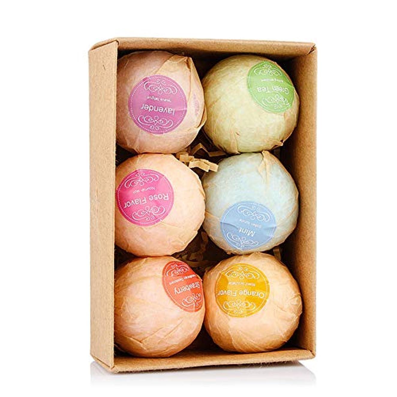 振り向く補償表向きバスボム 入浴剤 炭酸 バスボール 6つの香り 手作り 入浴料 うるおいプラス お風呂用 入浴剤 ギフトセット6枚 贈り物 プレゼント最適
