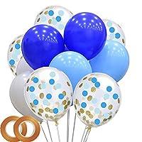 男の子の誕生日パーティー用バルーン 48個パック ブルーとホワイトのラテックスバルーン 紙吹雪バルーン付き 男の子の誕生日パーティー ベビーシャワー用