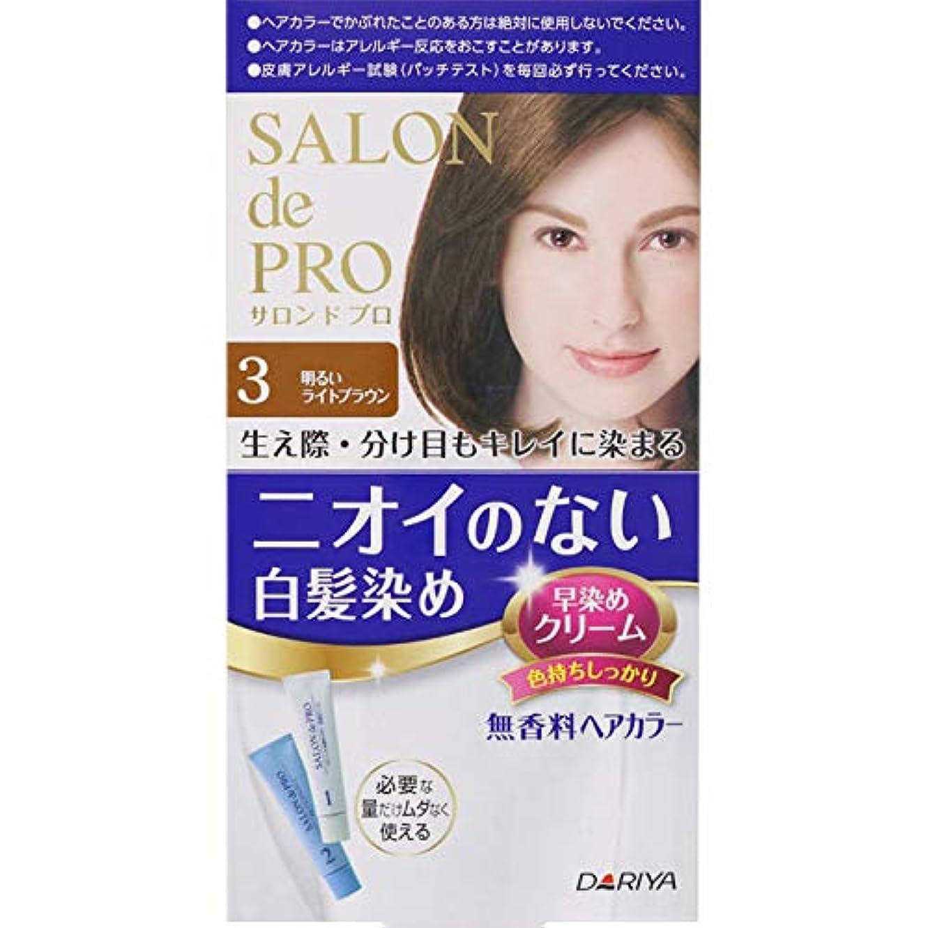手荷物ラウズ酸素ダリヤ サロン ド プロ 無香料ヘアカラー 早染めクリーム(白髪用) 3 明るいライトブラウン 40g+40g