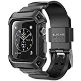 SUPCASE Apple Watch Series 3 ケース バンド 一体 落下衝撃 吸収 アップルウォッチ シリーズ1,2, 3 対応 (38mm, 黒)