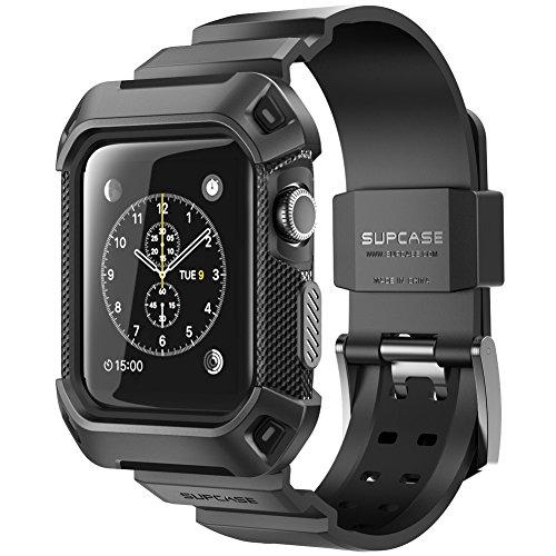 SUPCASE Apple Watch Series 3 ケース バンド 一体 落下衝撃 吸収 アップルウォッチ シリーズ 3 対応 (38mm, 黒)