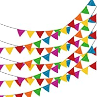 (Multi-Colored (1 Banner)) - Adorox 30m Multicolor Pennant Banner Birthday Party Decorations Weather Resistant (Multi-Coloured (1 Banner))