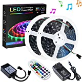 SPARKE DreamColor Led Strip Lights, 32.8ft/10m Music Sync LED Light, Waterproof RGB 300Leds SMD5050 Flexible Strip Lighting with RF Remote and 12V Power Supply, Chasing Effect for Home Kitchen