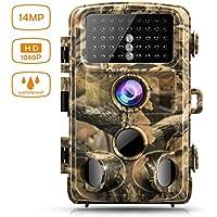 Campark トレイルカメラ 1400万高画質 0.3S高速トリガー 14MP 1080P 42個赤外線LEDライ 20m夜視範囲 アクセサリー付き 狩猟モニターカメラ 120°広角レンズ IP56防水 防塵 防犯カメラ