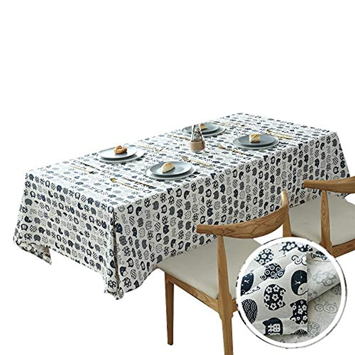 店員誰の許可HANSHAN テーブルクロス テーブルクロス、防塵テーブルカバーコットンとリネン卓上プロテクター装飾ファブリックテーブルカバー57×70インチ (Color : A, Size : 37 × 57inch)