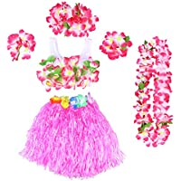 LUOEM Girls Hula Grass Skirt Set Hawaiian Luau Dance Skirt Tropical Flower Leis Bracelets Headband Necklace Bra Set (Pink Skirt)