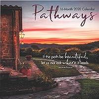Pathways 2020 プレミアム 16ヶ月 壁掛けカレンダー リネンエンボス加工厚紙に印刷。