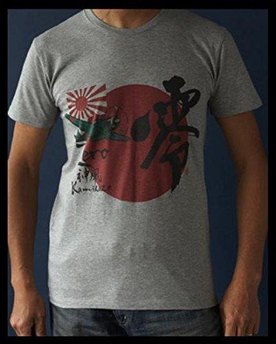 【日本軍 旭日旗 日章旗 日の丸】 海軍 ミリタリー ゼロ戦 (零戦) 半袖Tシャツ (M, ホワイト)