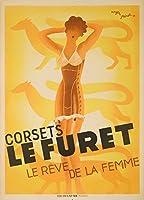 コルセットLe Furetヴィンテージポスター(アーティスト: Perot )フランスC。1933 12 x 18 Art Print LANT-62129-12x18