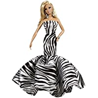 Silk Satin zebra print Strapless Fit and Flare Floor Length Fishtail Gown for Barbie Doll