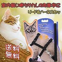ハーネス リード セット 猫用 散歩 簡単調節 しっかり固定 一体型 ハーネスリード 蛍光 ネコ