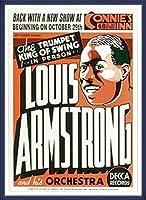 ポスター ルイ アームストロング ルイ アームストロング - Connie\'s Inn NYC、 1935 - 額装品 ウッドベーシックフレーム(ブルー)