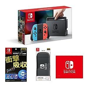 【Amazon.co.jp限定】【液晶保護フィルム多機能付き(任天堂ライセンス商品)】Nintendo Switch Joy-Con (L) ネオンブルー/ (R) ネオンレッド+HARD CASE for Nintendo Switch ブラック+マイクロファイバークロス