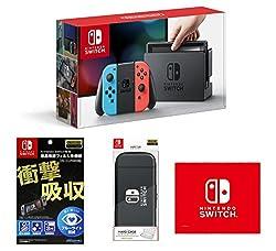 【Amazon.co.jp限定】【液晶保護フィルム多機能付き(任天堂ライセンス商品)】Nintendo Switch Joy-Con (L) ネオンブルー  (R) ネオンレッド+HARD CASE for Nintendo Switch ブラック+マイクロファイバークロス