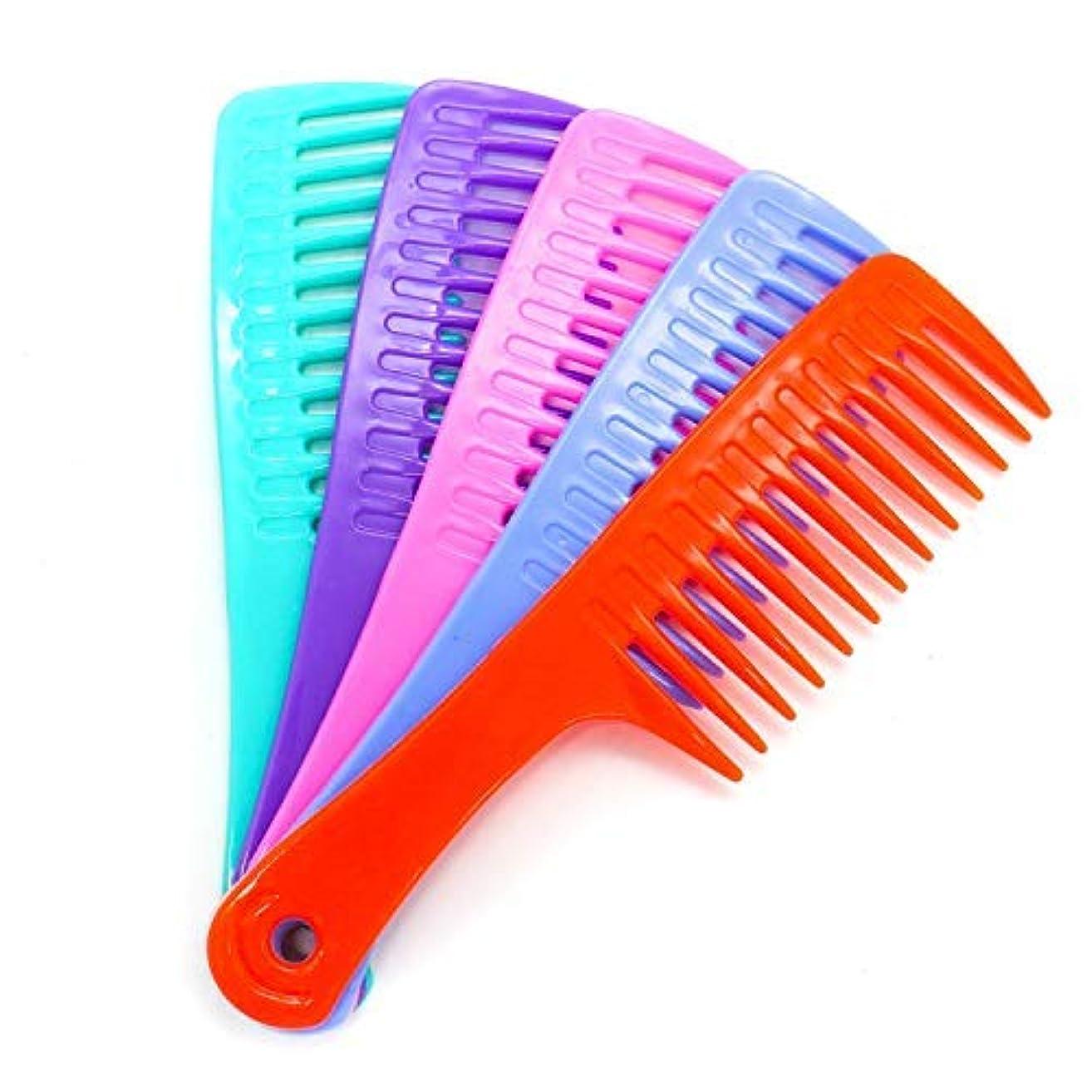 活発それボートHUELE 5 Pack Colorful Wide Tooth Detangler Hair Brush Detangling Comb for Adults & Kids Handle Comb [並行輸入品]