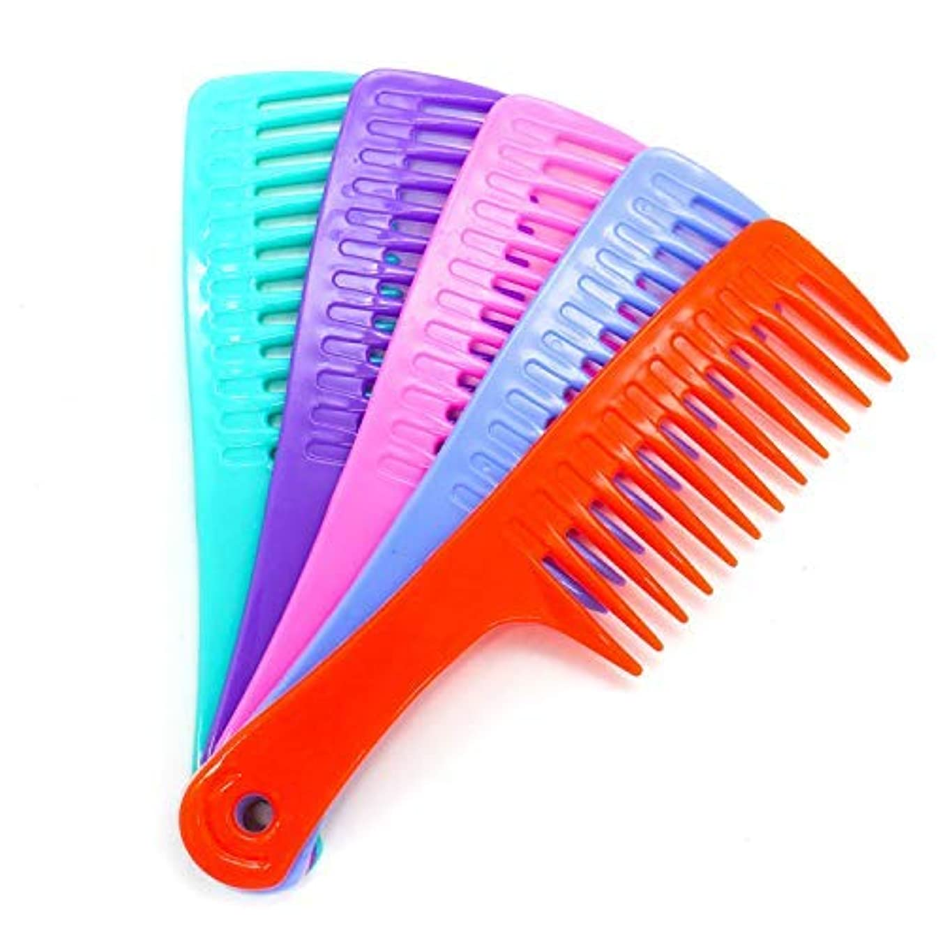プリーツ暴君アナウンサーHUELE 5 Pack Colorful Wide Tooth Detangler Hair Brush Detangling Comb for Adults & Kids Handle Comb [並行輸入品]