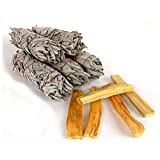 Chakra Palace 5 White Sage Smudge Sticks 4+ inches Each and 5 Palo Santo Wood 3 inches Each with Instructions