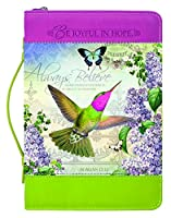 Joyful Hope Believe Hummingbird Leatheretteジッパー聖書カバー X-Large