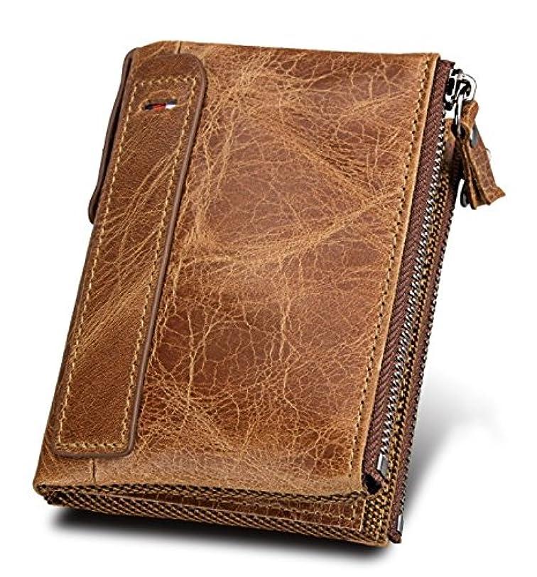 相続人成長する自発Orienex 財布 二つ折り 牛革 ビルフォールド メンズ 本革 軽量 高級感溢れ 大容量 ブラウン