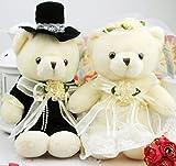 レディース ワンピーススーツ 結婚パーティ 披露宴の演出に ウェディングベア ウエルカムベア 洋装 テディベア 完成品 (25cm)