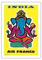 インド - エアフランス - ヒンドゥー教の主ガネーシャ - ビンテージな航空会社のポスター によって作成された ジャン・カルリュ c.1959 - 美しいポスターアート