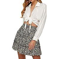 katiewens Women's Boho Floral Printed High Waist Ruffle Elastic Cute Casual Mini Skirt