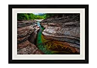 川、岩、木々 風景の写真 黒色の木製フレーム 額縁 壁掛け ホーム装飾画 装飾的な絵画 壁の装飾 ポスター(40x60cm)