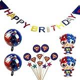 スーパーマン 誕生日 飾り付け スーパーヒーロー superman 男の子 可愛い かっこいい バルーン 風船 ケーキトッパー happy birthday バナー ガーランド 6枚セット