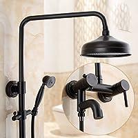 シャワー浴室ハンドシャワーシャワー蛇口ホットコールド銅アンティークシャワーセットヨーロッパ銅レトロ、ブラック