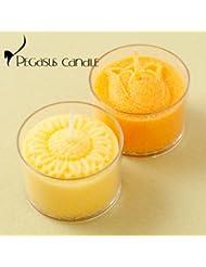 花暦ヒマワリ?チューリップ花の形のキャンドル2個セット(無香タイプ)ペガサスキャンドルFlower shaped candle