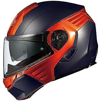 オージーケーカブト(OGK KABUTO)バイクヘルメット システム KAZAMI フラットブラック/オレンジ L (頭囲 59cm~60cm)