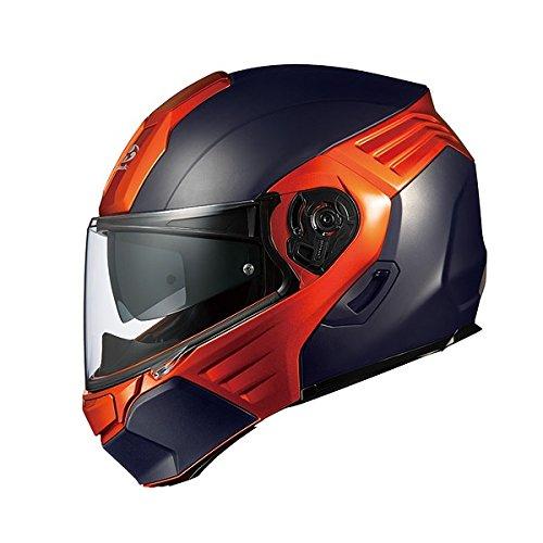 オージーケーカブト(OGK KABUTO)バイクヘルメット システム KAZAMI フラットブラック/オレンジ L (頭囲 59c...