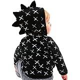 男女 小恐竜 フード付き コート/アウター/上着 ベビー服 男の子 赤ちゃん服 幼児 子供服 女の子  長袖 5サイズ キッズ服  満月/出産祝い/プレゼント80CM-90CM-100CM-110CM-120CM(12ヶ月-4歳) (80CM/12ヶ月, 黒色)