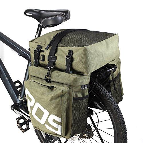 ArcEnCiel 自転車サイドバッグ 多機能リアバッグ 収納力抜群 リアサイドバッグ 防水カバー付き グリーン