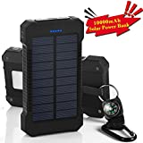 GRDE 10000mAh大容量ソーラーパネル モバイルバッテリー 二つの充電方法旅行 キャンプの必須の良品(ブラック)