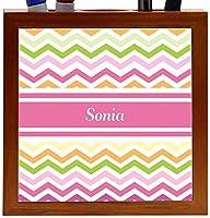 Rikki Knight Sonia Pink Chevron Name Design 5-Inch Wooden Tile Pen Holder (RK-PH8077) [並行輸入品]