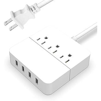 電源タップ USBコンセント AC差込口4USBポート(最大2.4A/5V)急速充電可能 スイッチ付き 1.5Mコード 省エネ 過負荷保護 (白)