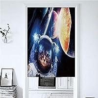 1級遮光 のれん ロング 間仕切り 無地 幅72丈150cm 北欧風 漫画 綿麻 リビングルーム・ポーチ・洗面所・台所用 カーテン 半遮光 おしゃれ 天然素材 動物 宇宙服の惑星と子猫星雲超新星エクリプスアートワーク