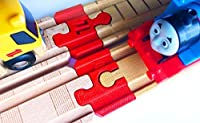 Thomas Wood 2018 Train Track Adapters to Wooden Railway for BRIO%カンマ% Melissa & Doug (Red) [並行輸入品]