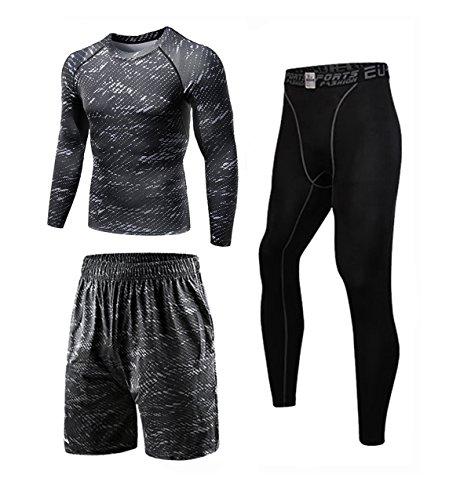コンプレッション Tシャツ スポーツ シャツ セット メンズ グレー XL