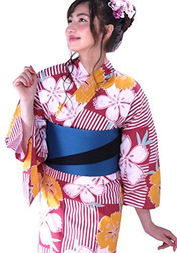 浴衣 レディース ゆかた 女性 セット 10柄から選べる2017浴衣福袋 3点セット 【浴衣+半幅帯+下駄】着物ひととき 赤のストライプに桜