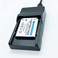 バッテリーパックとUSB急速トラベルバッテリー充電器 Pentax Optio RS1000 RS1500 T30 V10 W30デジタルカメラ用