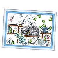 FLAMEER クロスステッチキット 刺繍キット 眠っている猫 図案印刷 刺繍工具付き 全2種 - 多色, 34×26cm・14CT
