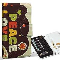 スマコレ ploom TECH プルームテック 専用 レザーケース 手帳型 タバコ ケース カバー 合皮 ケース カバー 収納 プルームケース デザイン 革 ラブリー ハート ピースマーク 005986